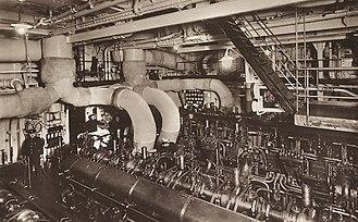 HMT Empire Windrush - The engine room of Windrush's sister ship, Monte Cerventes (1928)