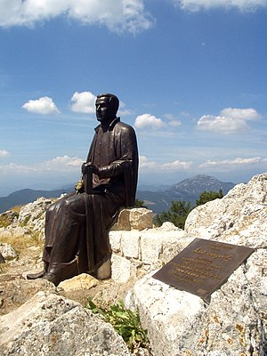 Jacint Verdaguer - Statue in honor of the poet atop the Mare de Déu del Mont peak.