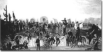 Capture of Tucson (1846) - The Mormon Battalion at the Gila River (Gila Bend, AZ) by George M. Ottinger.