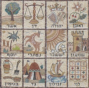 Israelites - Mosaic of the 12 Tribes of Israel, from a synagogue wall in Jerusalem