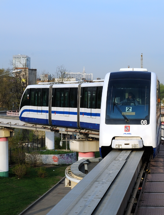 Moscow Monorail - A train at Timiryazevskaya station