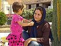 Mother with Daughter at Roadside - En Route from Qazvin to Rudbar - Northwestern Iran (7419752832).jpg
