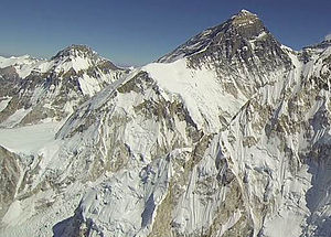 Lho La - Everest, Southwest Face. Khumbu Glacier's Ice Fall is bottom left with Lho La above and the snowfield of the Rongbuk Glacier (middle left) behind the col. The West Ridge slopes diagonally from Lho La over the West Shoulder to the summit.