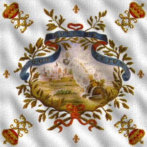 Musketeers of the Guard - Flag of the 1st Company of the Musketeers of the Guard, 1715. Motto: Quo ruit et lethum - to fall, there is death