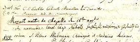 Eintragung Mozarts im Gästebuch der Mannheimer Sternwarte, 1778 (Quelle: Wikimedia)