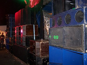 Rave - A huge bank of speakers and subwoofers from a rave sound reinforcement system.