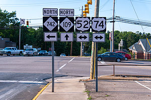 North Carolina Highway 742 - NC 742 overlaps with highways shown here, in Wadesboro