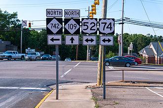 North Carolina Highway 742 - NC 742 overlaps with highways shown here, in Wadesboro