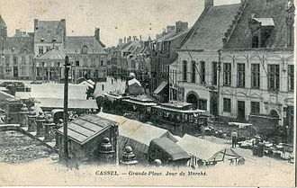 Cassel, Nord - Market day in Cassel, with the electric tramway built in 1900