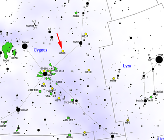 KIC 8462852 - Map showing location of NGC 6866. KIC 8462852 is northeast between NGC 6866 and ο¹ Cygni.