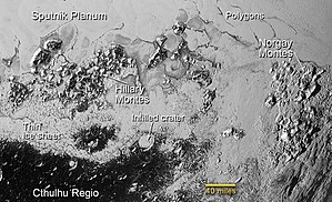 Mountain range - Hillary and Norgay Montes on Pluto (14 July 2015)