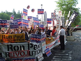 2008 Republican Party presidential debates and forums - Ron Paul supporters outside of the debate location