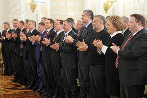 Crimean speech of Vladimir Putin - Image: Naryshkin, Medvedev, Konstantinov, Aksyonov, Chaly and Matviyenko