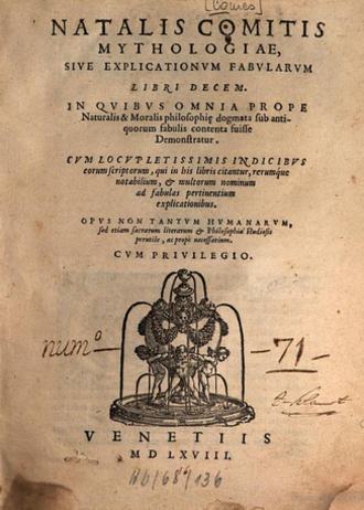 Natalis Comes - Frontpage of the first edition of Mythologiae sive Explicationis fabvlarvm (1616)