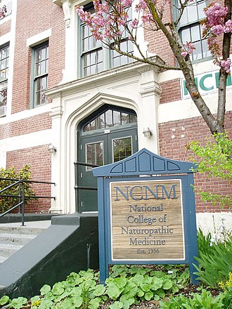 National University of Natural Medicine - Entrance to the building in April 2006, showing the college's pre-2006 name