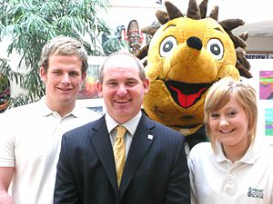 Priory Community School - Neville Coles with students and school mascot Percy Priory