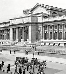 A monochrome photograph of the front of the New York Public Library's main branch