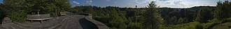 Cornell Botanic Gardens - A panoramic view from Newman Overlook, one of the highest points in the arboretum and campus