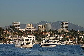 Orange County, California - View of Newport Center and the Santa Ana Mountains from Newport Harbor