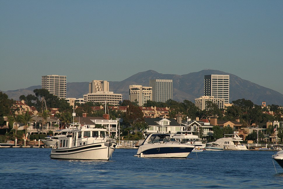 View of the Santa Ana Mountains from Newport Bay