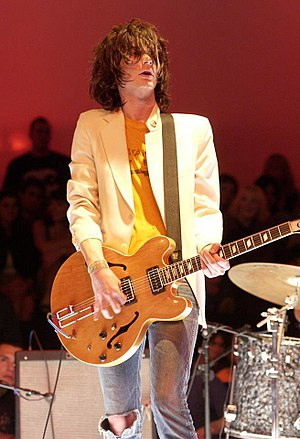 Nick Valensi - Valensi performing with The Strokes in 2002