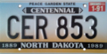 North Dakota license plate, 1989–1992 with January 1991 sticker.png