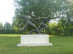 Partizan Stadium - Monument to relay carriers near Partizan Stadium