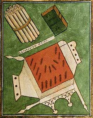 Primicerius - The items of office of the late Roman primicerius notariorum, as depicted in the Notitia Dignitatum.