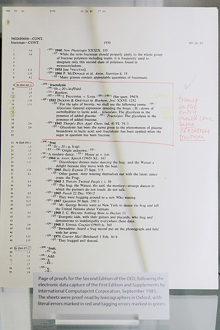 A printout of the SGML markup used in the computerization of the OED, showing pencil annotations used to mark corrections. OED markup corrections.jpg