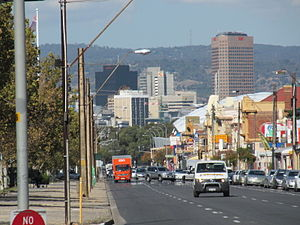 Port Road, Adelaide - Looking towards the Adelaide city centre from Port Road