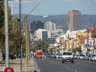 Port Road, Adelaide - Looking towards the Adelaide city centre from Port Road in Hindmarsh