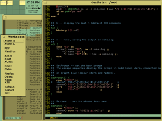 Olwm - An olvwm-managed desktop with Virtual Desktop Manager (VDM) and two XTerm windows one running Vim using the Desert256 color scheme. A simple menu is pinned to left-hand side of the Workspace. Conky is running next to the VDM, displaying the date, time, and network usage.