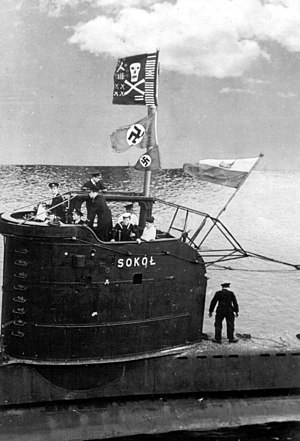 Use of the Jolly Roger by submarines - The Polish submarine ORP ''Sokół'' returning to base in 1944. A Jolly Roger flag and two captured Nazi flags are flying from the periscope mast
