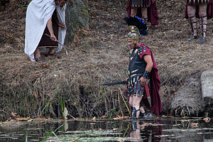 "Decimus Junius Brutus Callaicus - Decimus Junius Brutus crossing the ""Lethes"" (Limia River today). Reenactment performance in Galicia."