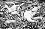 Odin Rides to Hel, dessin de William Gershom Collingwood réalisé en 1908.