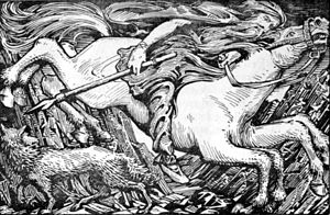 "Sleipnir - ""Odin Rides to Hel"" (1908) by W. G. Collingwood."
