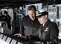 Officers stand watch as USS Blue Ridge enters port. (8570978817).jpg