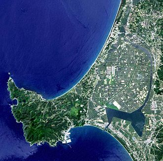 Hachirōgata - Satellite image of Hachirōgata (at right). The lake is entirely reclaimed except the south-east corner and the narrow watercourse surrounding the reclaimed land. Oga Peninsula is in the left.