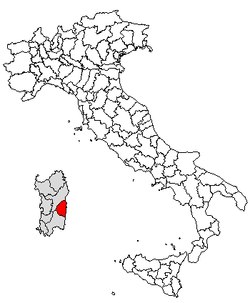 Location of Province of Ogliastra