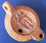 A terra-cotta oil lamp, Antique oil lamp (replica)