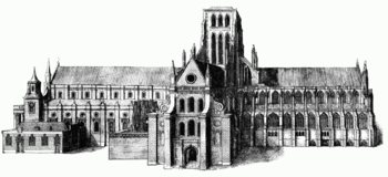 Engraving of a church building