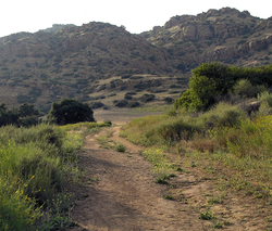 The Spahn Movie Ranch, with a portion of the Old Santa Susana Stage Road.