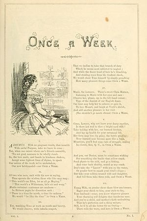 Once A Week (magazine) - Once A Week Pg.1, Vol.1, No.1 July 2, 1859