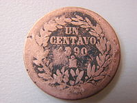 One centavo coin of 1890