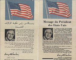 Operation Torch - message from the president of United States to the citizens of Casablanca