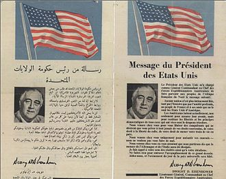 Operation Torch - A flyer in French and Arabic that was distributed by Allied forces in the streets of Casablanca, calling on citizens to cooperate with the Allied forces.