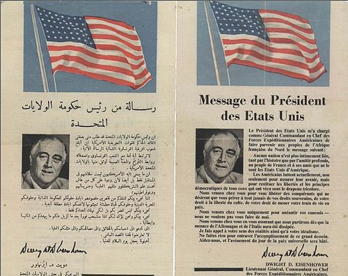 A flyer in French and Arabic that was distributed by Allied forces in the streets of Casablanca, calling on citizens to cooperate with the Allied forces. Operation Torch - message from the president of United States to the citizens of Casablanca.jpg
