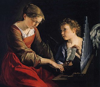Saint Cecilia - Saint Cecilia with an Angel, by Orazio Gentileschi