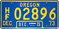 Oregon 1975 Heavy Fixed Load License Plate - Short Numbers, Blue, December.jpg