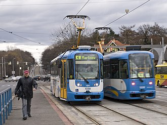 "Ostrava - Ostrava trams in their traditional blue-and-white colour combination at the ""Nová Ves vodárna"" stop"
